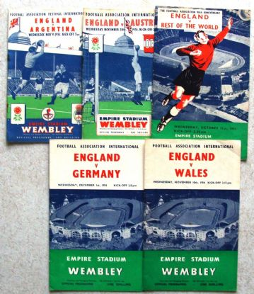 Collection of 5 different ENGLAND football programmes between 1951 and 1954